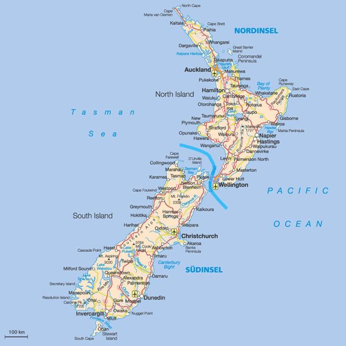 Topographische Karte von Neuseeland